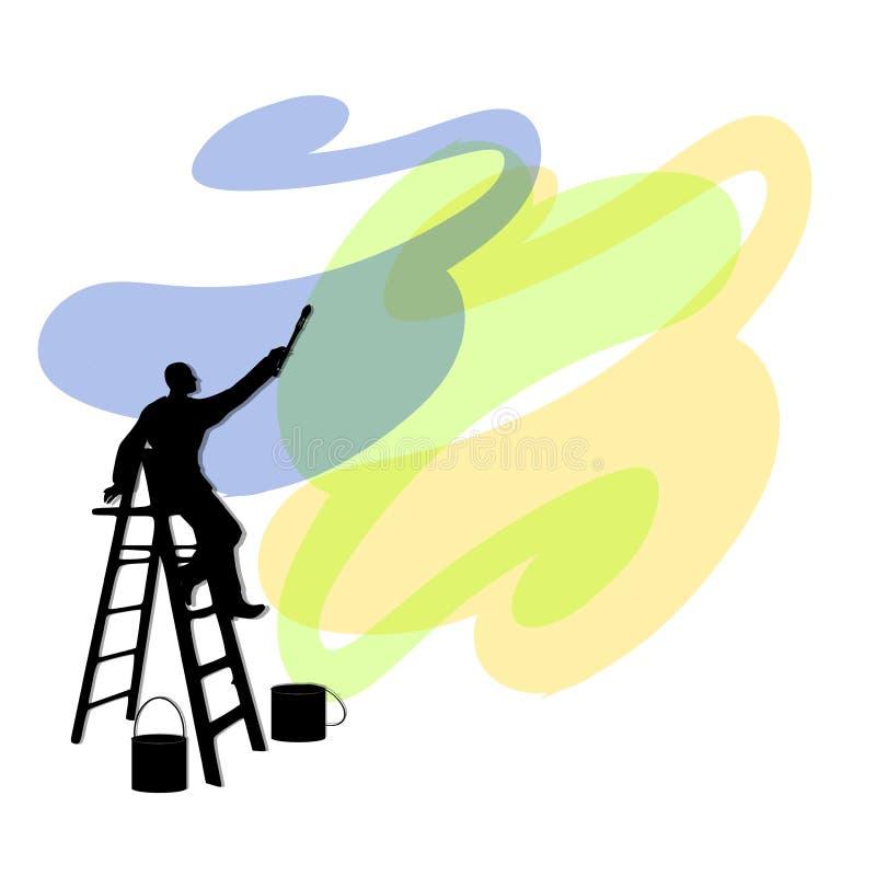 梯子人绘画墙壁 库存例证