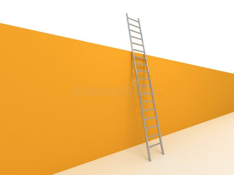 梯子倾斜对墙壁 皇族释放例证