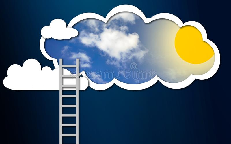 梯子到晴朗的天空里 向量例证