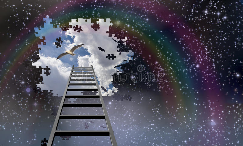 梯子对天空和天 向量例证