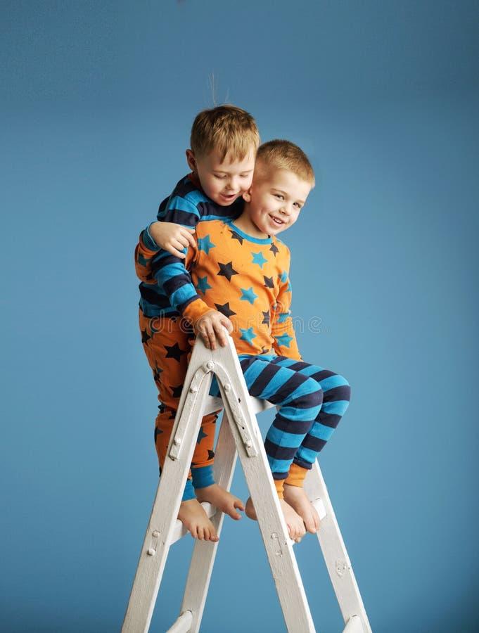 梯子的两个微笑的兄弟 免版税库存照片