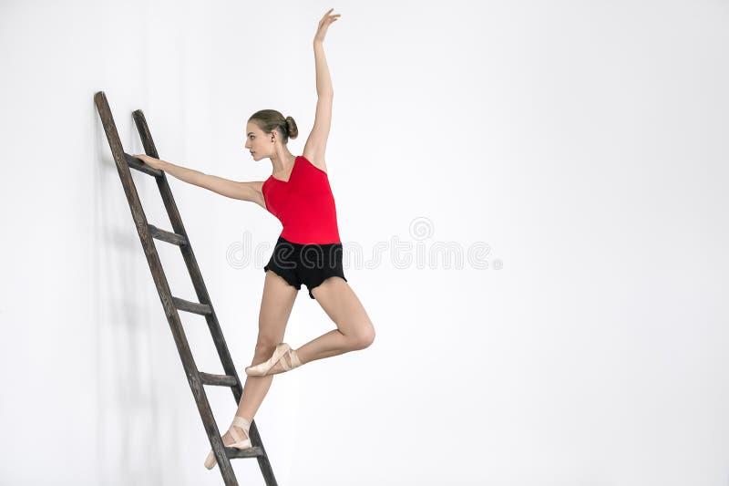 梯子的芭蕾舞女演员在演播室 库存照片