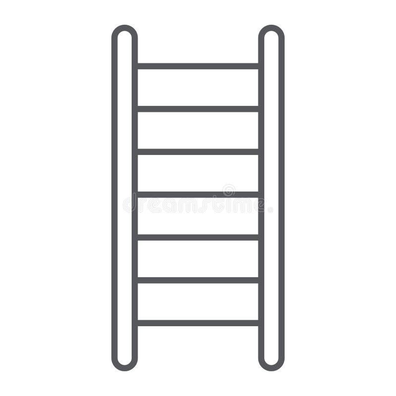 梯子稀薄的线象,台阶和攀登,救火梯标志,向量图形,在白色背景的一个线性样式 向量例证