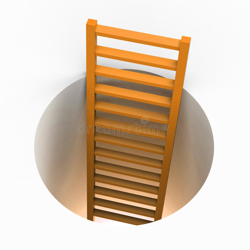 梯子逃命表明得到去并且逃避 库存例证