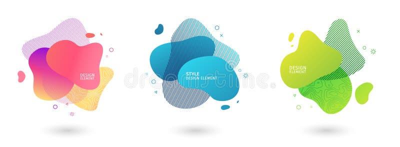 设置摘要现代图表元素 动态色的形式和线 梯度与流动的液体的摘要横幅 向量例证