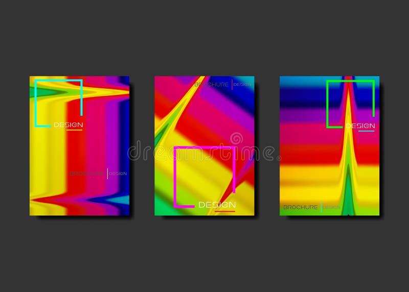 梯度可变的海报集合凉快的小册子 r E 创造性的飞行物液体 库存例证