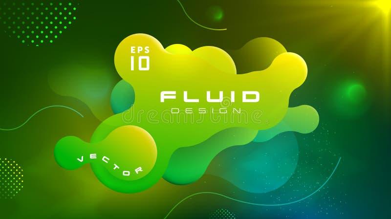 梯度可变的黄绿色颜色抽象背景 液体塑造未来派概念 创造性的行动动力学流体 向量例证