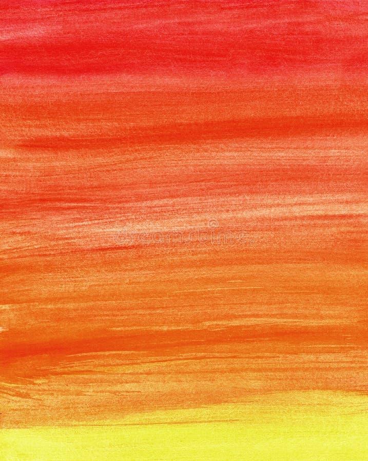 梯度在温暖的颜色的水彩背景 免版税库存照片
