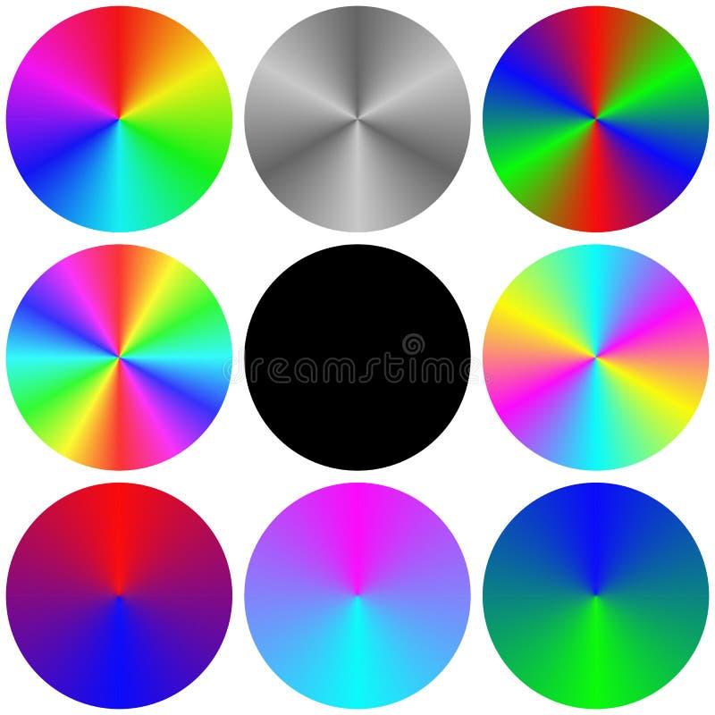 梯度彩虹圈子色板显示集合 向量例证