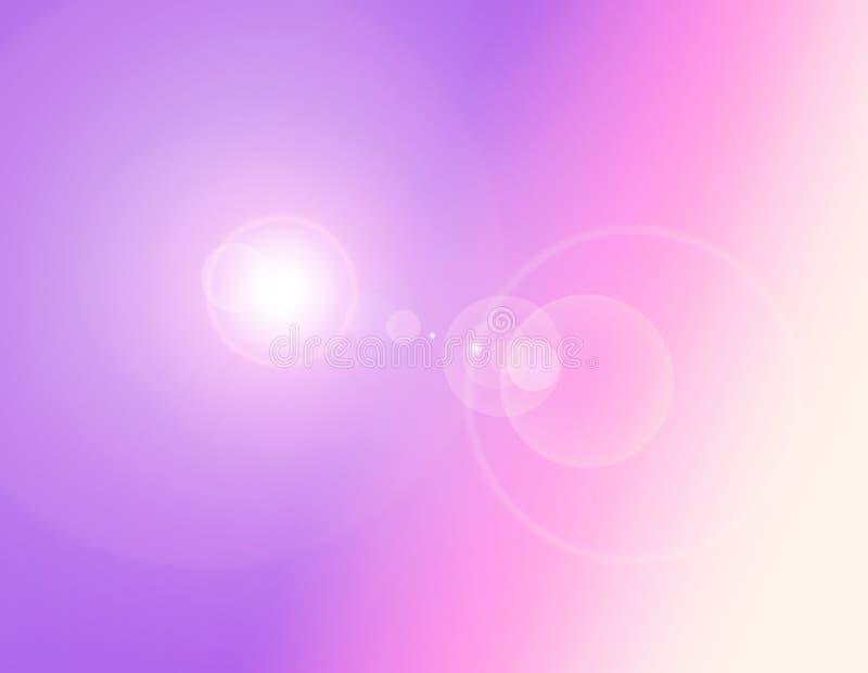 梯度桃红色,紫色,紫罗兰,与火光光的黄色柔和的淡色彩 免版税库存图片