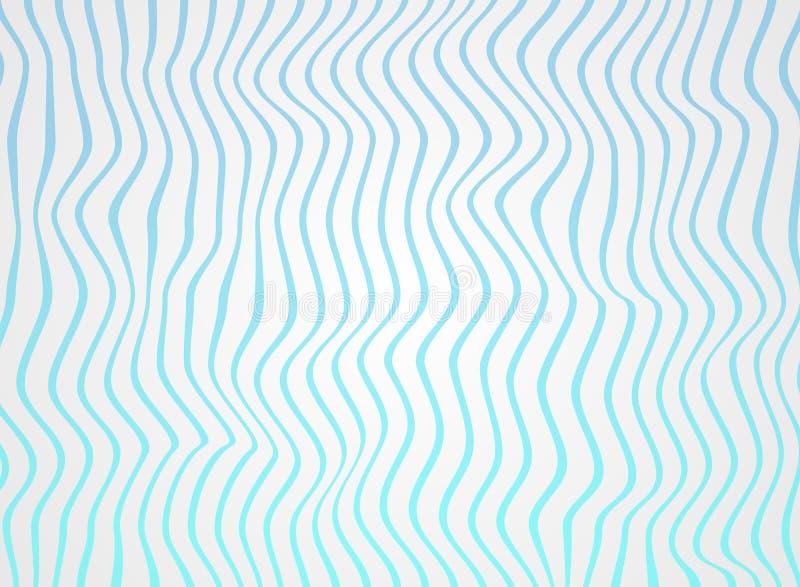 梯度海蓝线摘要在毛面的样式,软绵绵地白色挥动 向量例证