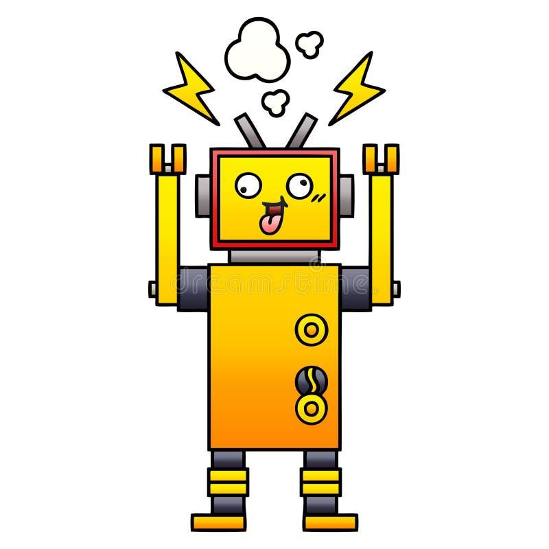 梯度被遮蔽的动画片发生故障的机器人 库存例证