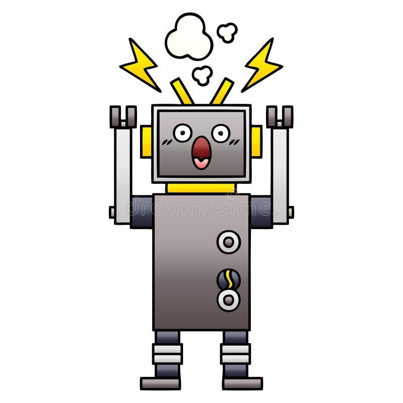 梯度被遮蔽的动画片发生故障的机器人 向量例证