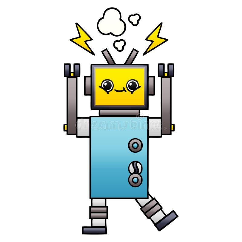 梯度被遮蔽的动画片发生故障的机器人 皇族释放例证