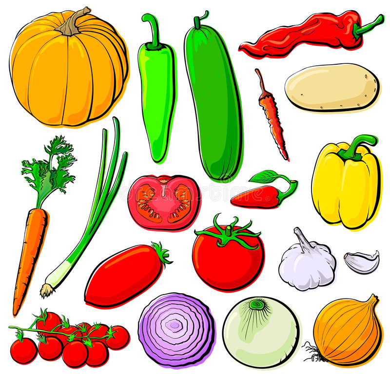 梯度设置了蔬菜 向量例证