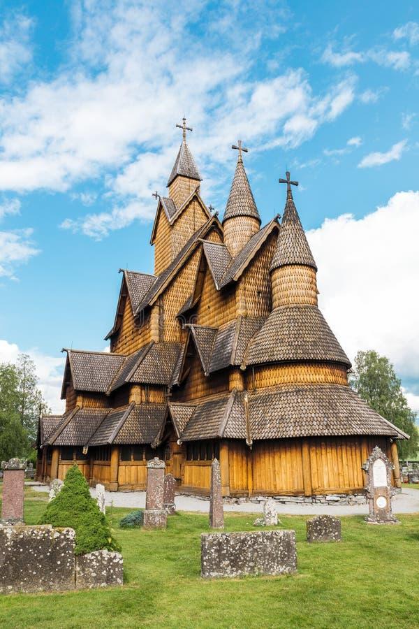梯级教会Heddal挪威 库存照片