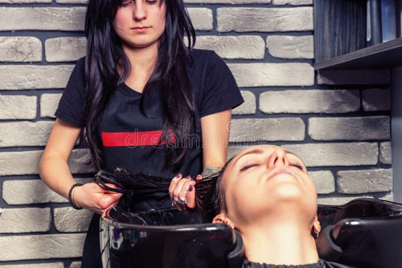 梳头发年轻美丽的深色的可爱的美发师 库存照片
