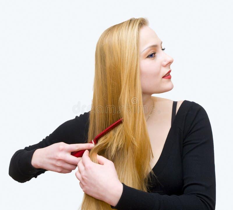 梳女孩头发年轻人 免版税库存照片