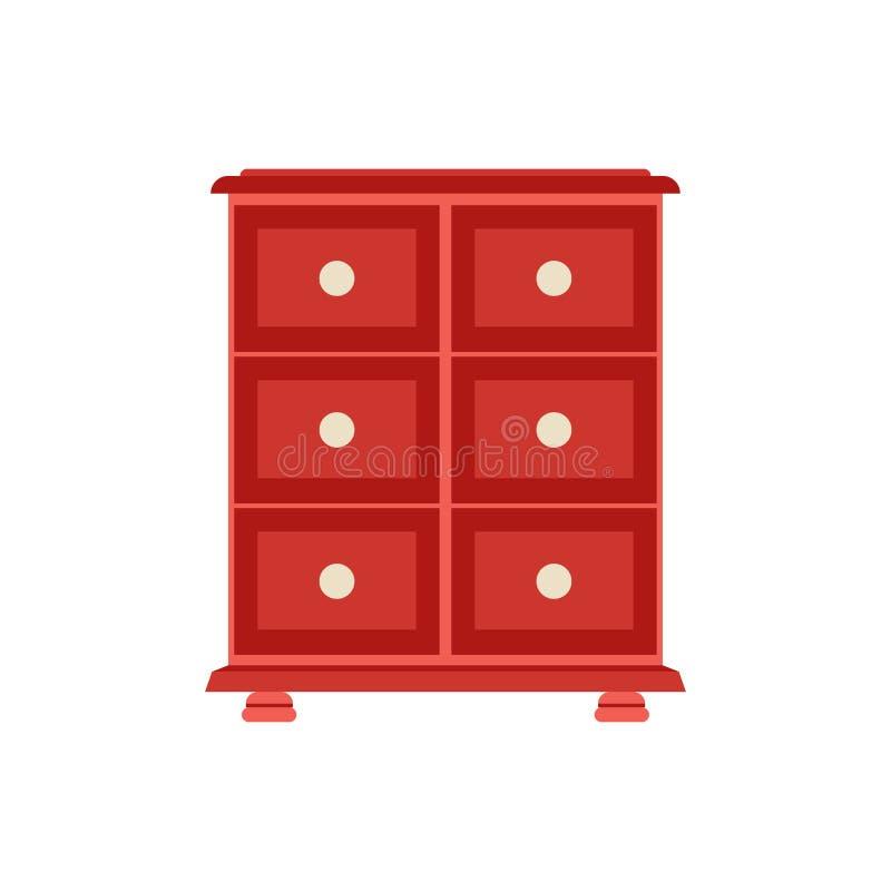 梳妆台室内装修卧室木内阁概念传染媒介象正面图 衣橱平的构成家具 向量例证