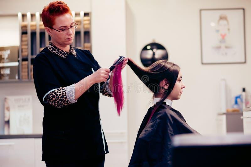 梳妇女顾客头发的美发师 库存照片