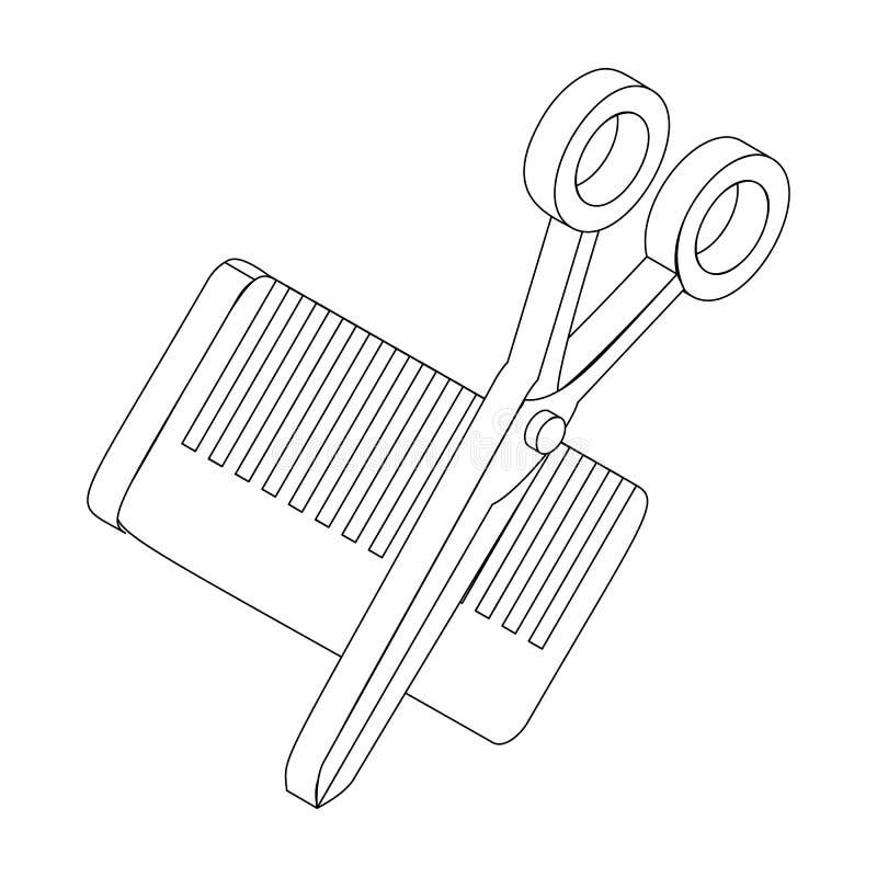 梳子和剪刀象,等量3d样式 库存例证