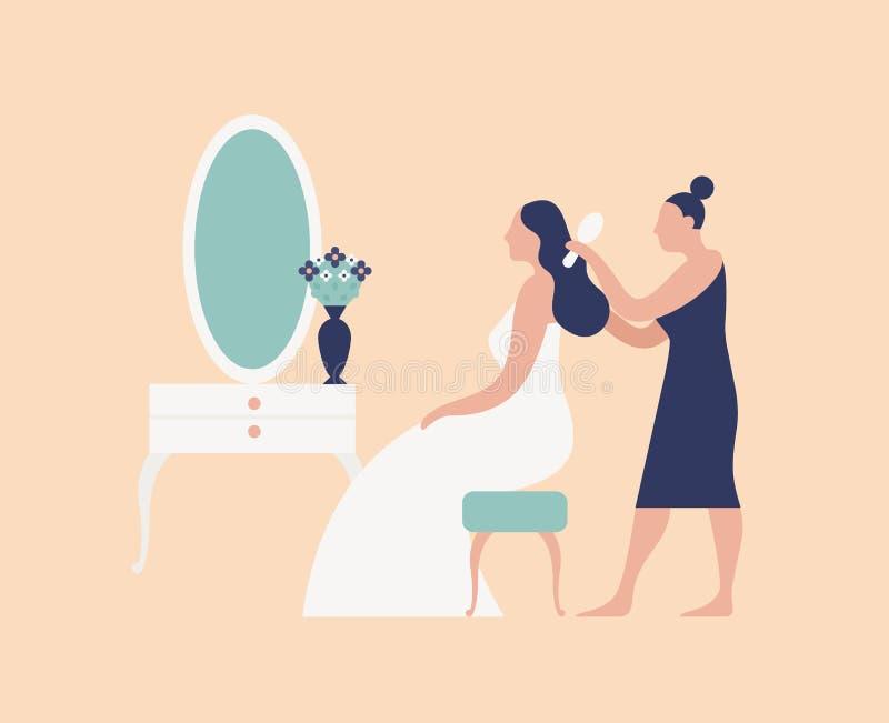 梳新娘的头发和做发型的女傧相、美发师或者美发师 婚礼那天早晨新娘惯例和 库存例证