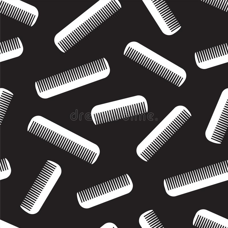 梳无缝的头发传染媒介理发师样式被隔绝的墙纸背景黑色 库存例证