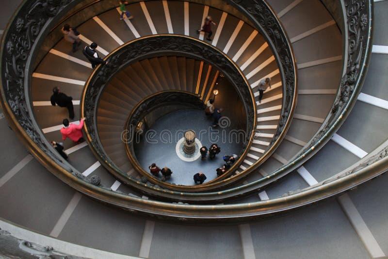 梵蒂冈博物馆的台阶在梵蒂冈,罗马,意大利 库存照片