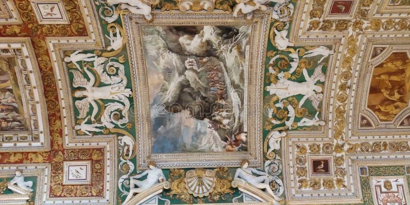 梵蒂冈博物馆走廊天花板 库存照片