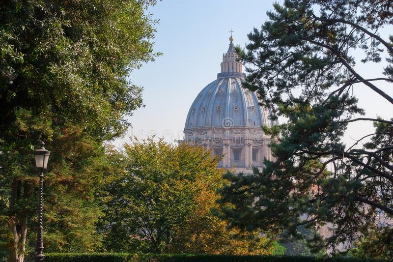 梵蒂冈庭院和圣伯多禄CATHERDAL 免版税库存图片
