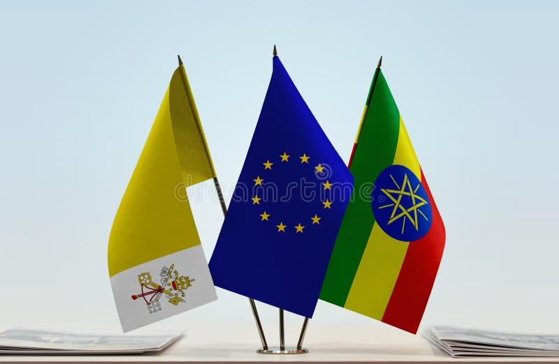 梵蒂冈欧盟和埃塞俄比亚的旗子 库存例证