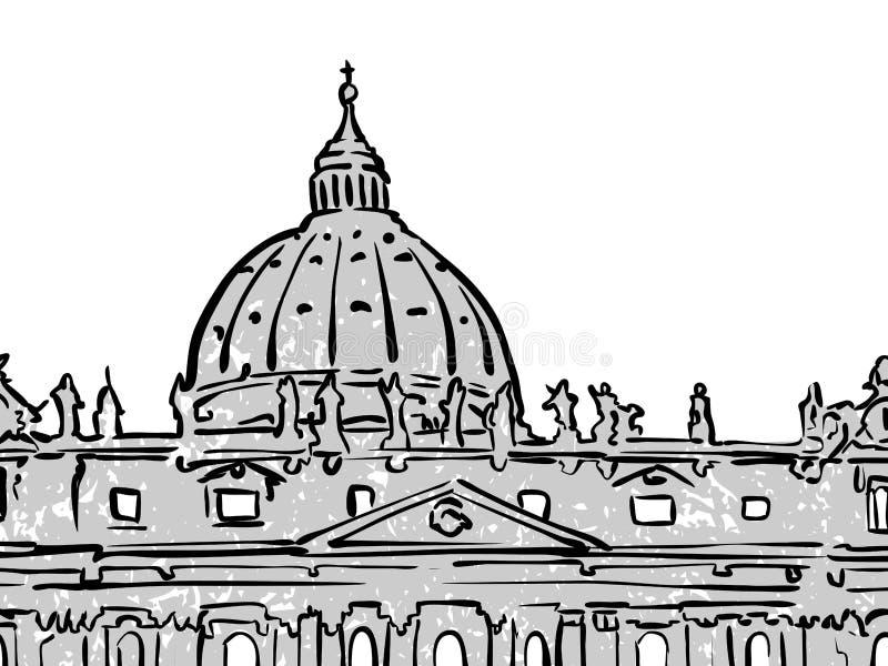 梵蒂冈著名旅行剪影 向量例证