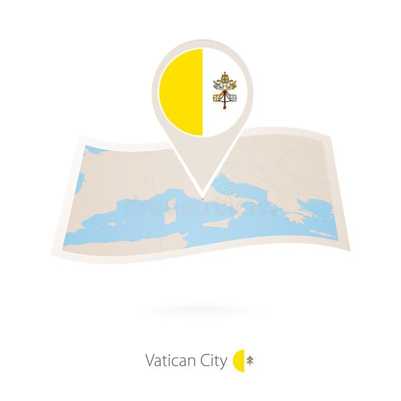 梵蒂冈被折叠的纸地图有梵蒂冈旗子别针的  皇族释放例证