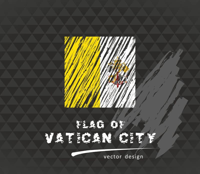 梵蒂冈,传染媒介在黑背景的白垩例证旗子  皇族释放例证