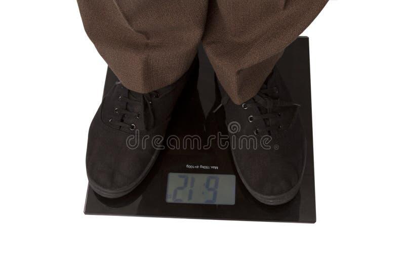 检查体重的人 免版税库存照片