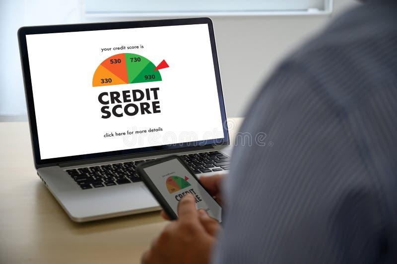检查信用评分网上和财政付款规定值预算金额的信用评分商人 免版税图库摄影