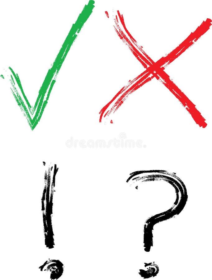 检查号, X, Exlamation标记,问号 免版税库存图片