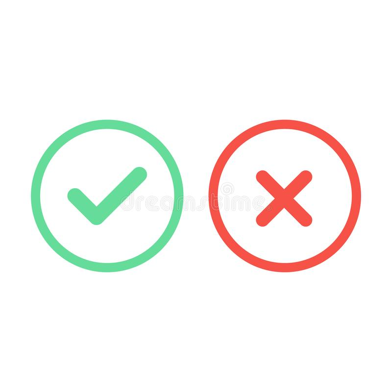 检查和十字架在一个平的设计 也corel凹道例证向量 向量例证
