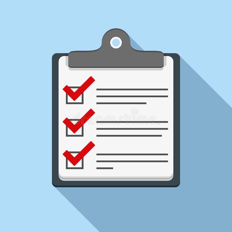 检查图标列表 库存例证