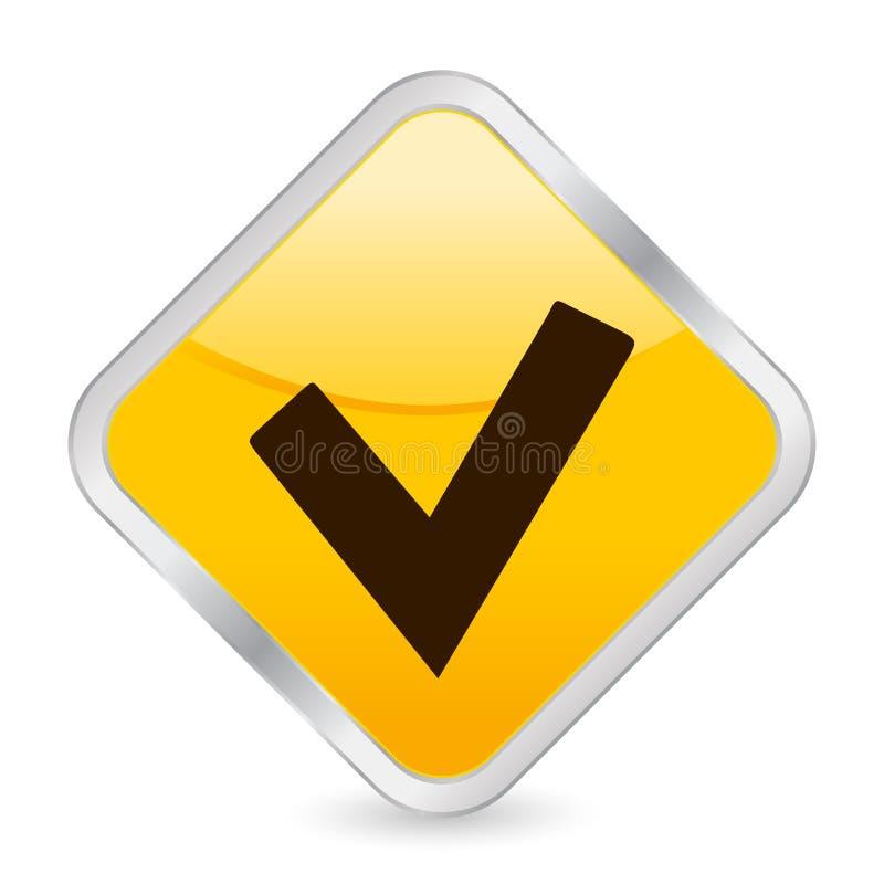 检查图标符号黄色 向量例证