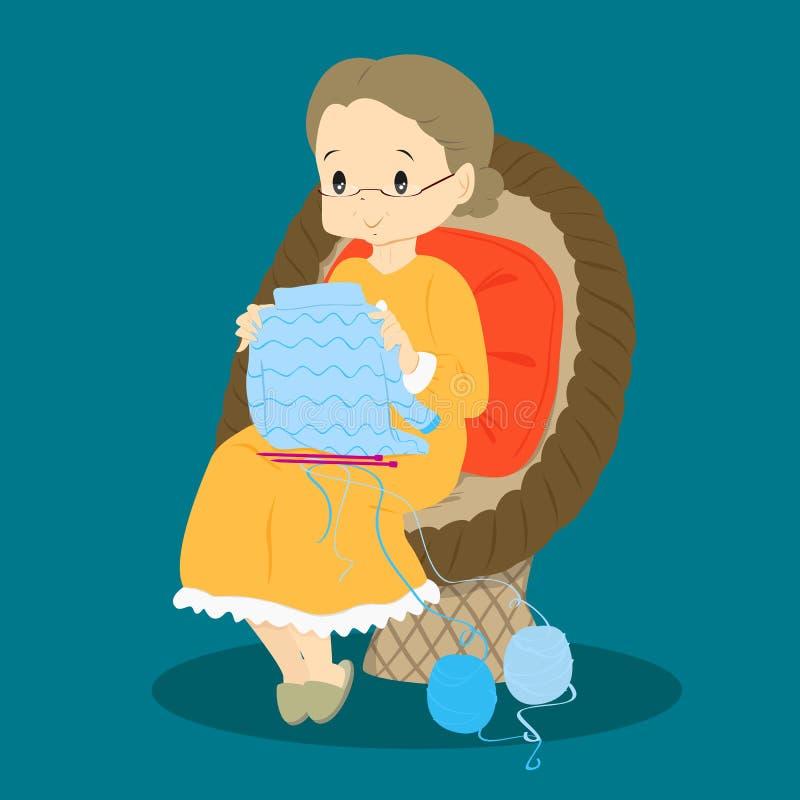 检查她的编织传染媒介的老婆婆 向量例证