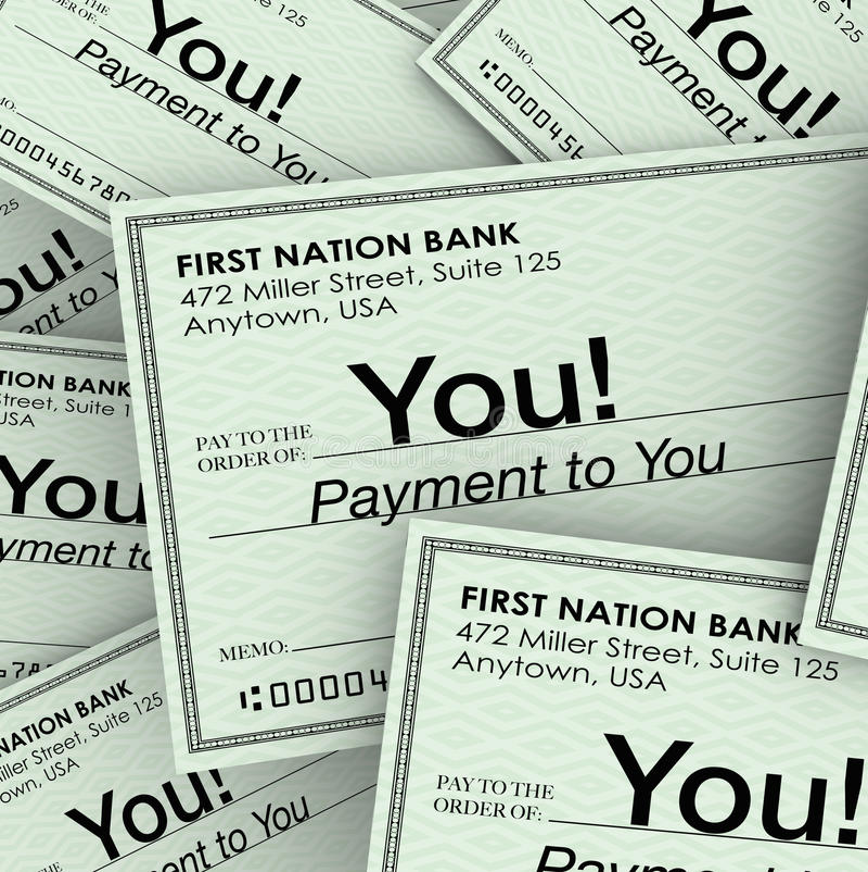 检查对您的现款支付收入薪金支票 皇族释放例证