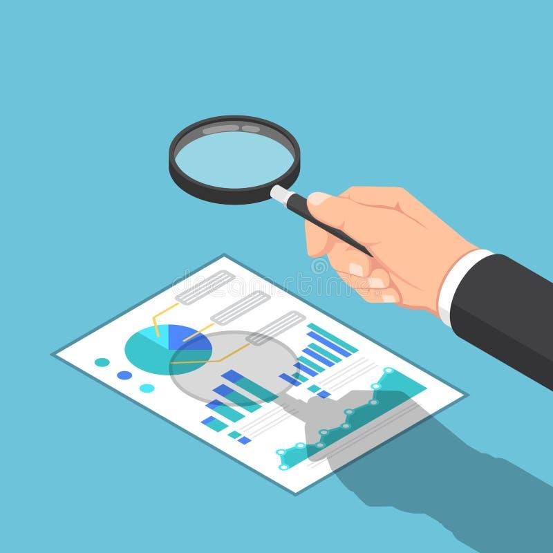 检查报告的等量商人手用途放大镜 向量例证
