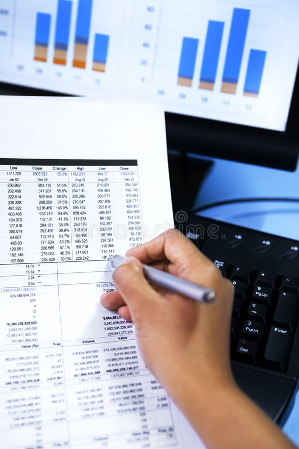 检查数据销售股票 免版税库存照片
