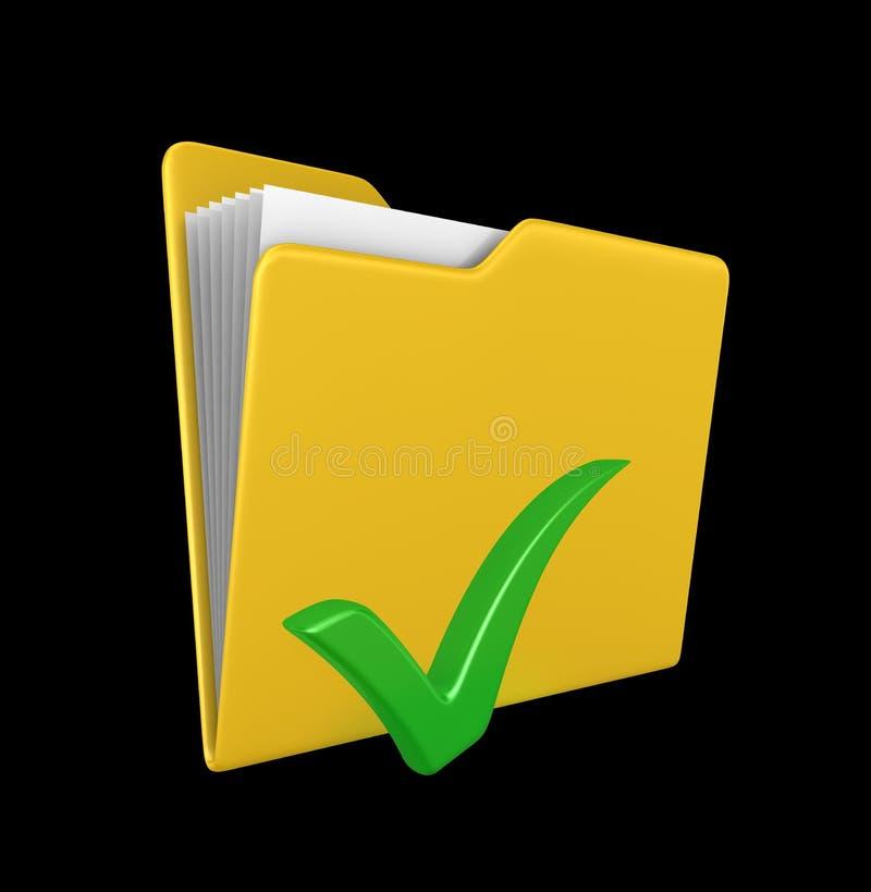 检查文件夹绿色标记黄色 免版税库存照片