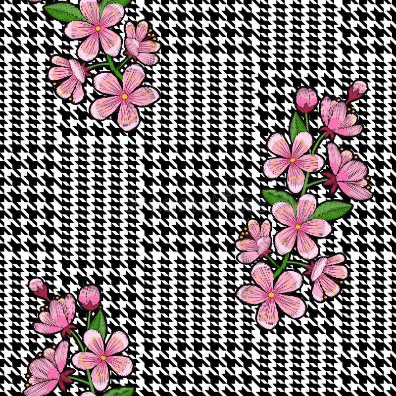 检查时尚无缝的样式与刺绣樱桃 库存例证