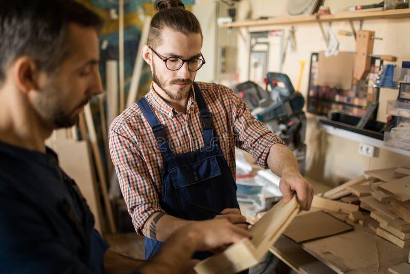 检查材料的木匠 库存照片