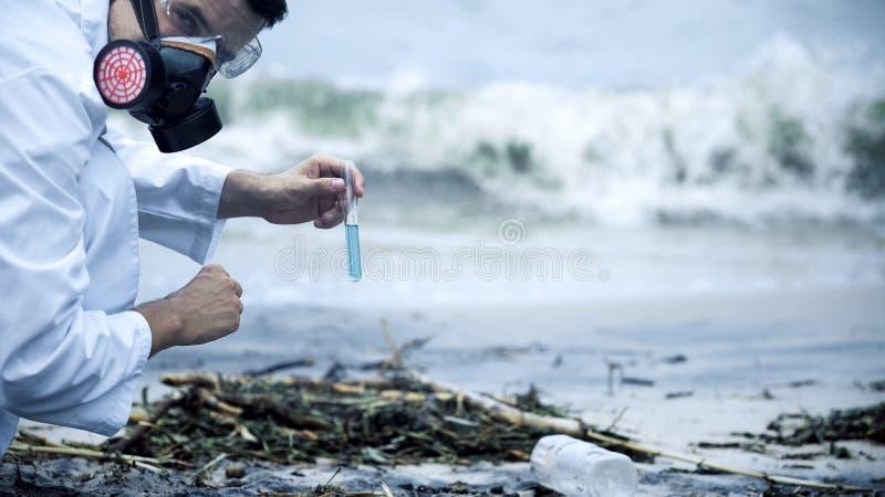 检查污水的毒素学家,飞溅在岸,环境灾害 免版税库存照片