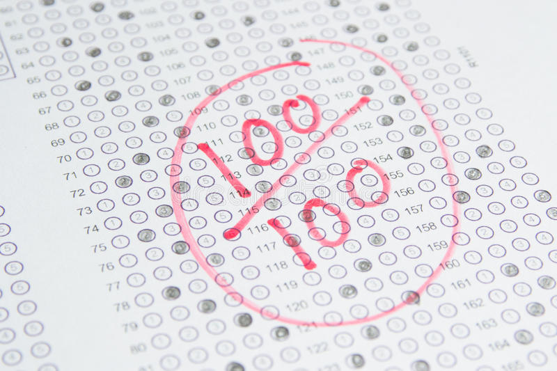 检查测试, 100比分 免版税图库摄影