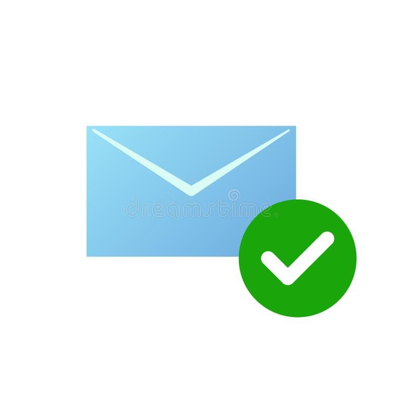 检查消息象 与绿色被检查的象的电子邮件标志 库存例证